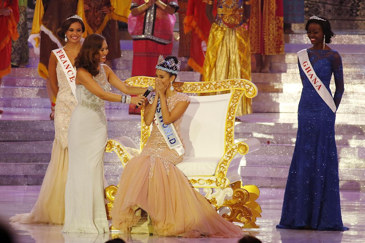 NUSA DUA, INDONESIA - SEPTEMBER 28: Miss Philippines, Megan Young is crowned Miss World during Miss World 2013 on September 28, 2013 in Nusa Dua, Indonesia. (Photo by Ed Wray/Getty Images)