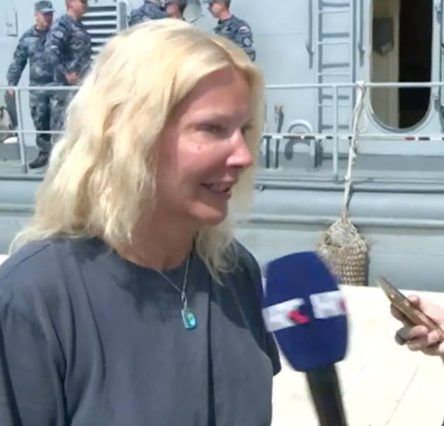 The British woman speaking to reporters after being rescued from the sea near the coast of Croatia.