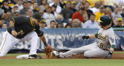 Oakland Athletics' Jed Lowrie (8) slides into third under the tag of Pittsburgh Pirates third baseman Pedro Alvarez (24) on a wild pitch by starting pitcher Jeff Locke in the fourth inning of the baseball game on Monday, July 8, 2013, in Pittsburgh. Lowrie was called safe on the play. (AP Photo/Keith Srakocic)
