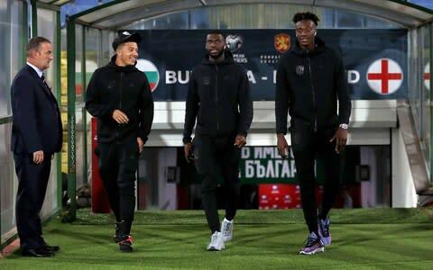 <span>Jadon Sancho (left), Fikayo Tomori (centre) and Tammy Abraham (right) witnessed racist abuse in Bulgaria</span> <span>Credit: pa </span>