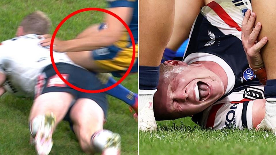 Seen here, Drew Hutchison lies in agony on the ground after copping knees into the side of his back.