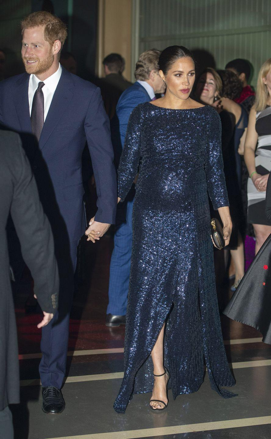 <p>But Kate's not the only royal brave enough to go for the glitter. Meghan wore this navy sequin dress to a Cirque du Soleil performance in 2019. </p>