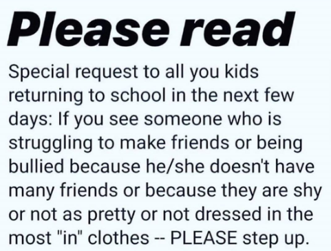 This viral Instagram post is reminding kids to be kind as they go back to school. (Photo: Instagram)