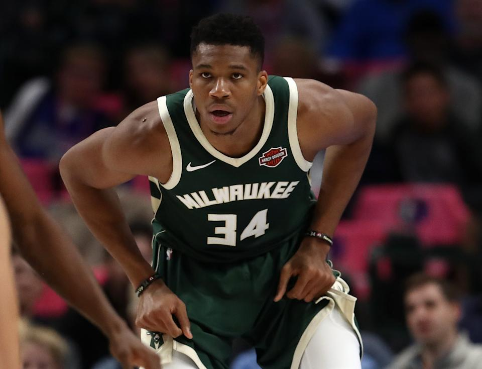 DALLAS, TEXAS - OCTOBER 11:  Giannis Antetokounmpo #34 of the Milwaukee Bucks during a preseason game at American Airlines Center on October 11, 2019 in Dallas, Texas. (Photo by Ronald Martinez/Getty Images)
