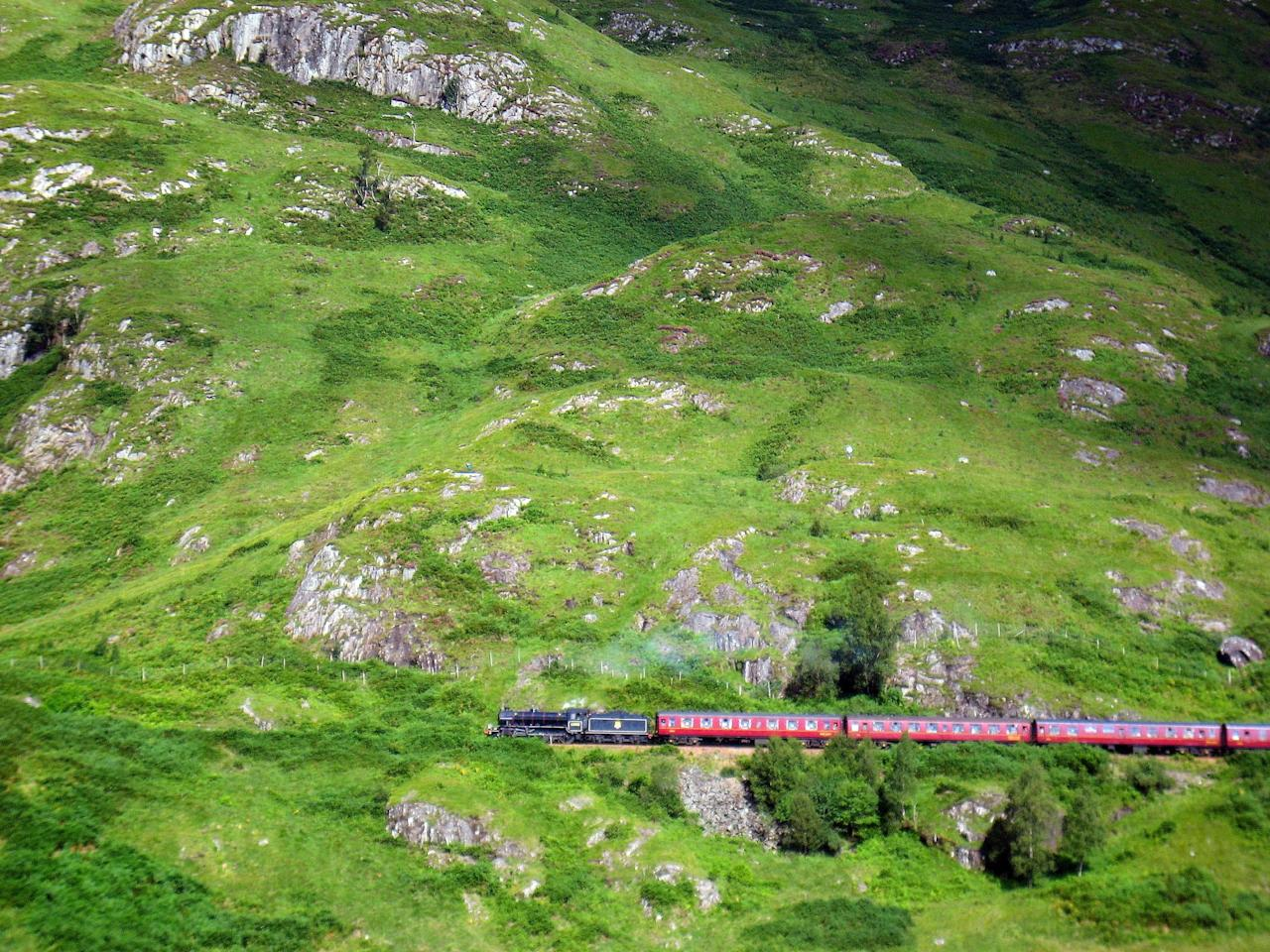 <p>The Jacobite steam train runs from Fort William in Scotland to Mallaig on the west coast of Scotland. The train ride gives great views of the rolling Scottish hills and passes over the same bridge that the Hogwarts Express runs through in the Harry Potter movies. Unfortunately, The Jacobite is lacking when it comes to pumpkin pasties and chocolate frogs.</p>