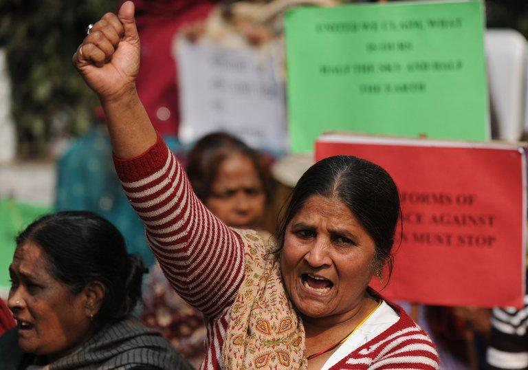 Indian activists shouts slogans during an anti-rape protest in New Delhi on January 15, 2013