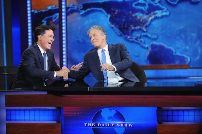 """<div class=""""inline-image__caption""""><p>Stephen Colbert and Jon Stewart appear on <em>The Daily Show with Jon Stewart</em> #JonVoyage on August 6, 2015, in New York City. </p></div> <div class=""""inline-image__credit"""">Brad Barket/Getty</div>"""