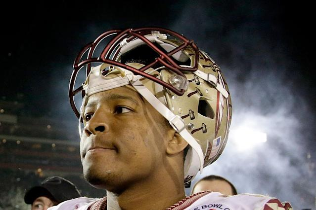 "Florida State QB <a class=""link rapid-noclick-resp"" href=""/nfl/players/28389/"" data-ylk=""slk:Jameis Winston"">Jameis Winston</a> was accused of raping a fellow student in 2012. (Getty)"