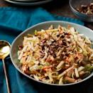"""<p>Apples contribute a touch of sweetness to a traditional cabbage slaw, and pecans give it a delicious crunchy finish. To save time, substitute 3 cups prepared coleslaw mix for the sliced cabbage and shredded carrots. <a href=""""http://www.eatingwell.com/recipe/262663/apple-slaw-with-poppy-seed-dressing/"""" rel=""""nofollow noopener"""" target=""""_blank"""" data-ylk=""""slk:View recipe"""" class=""""link rapid-noclick-resp""""> View recipe </a></p>"""