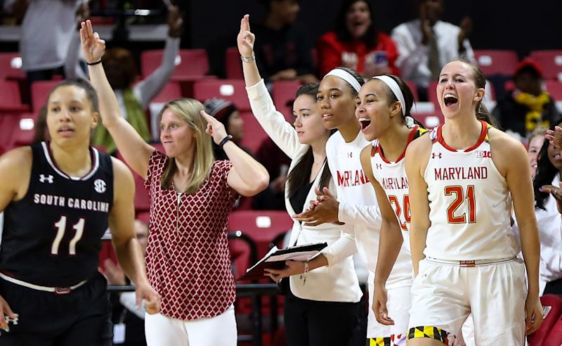 COLLEGE PARK, MD - NOVEMBER 13: Maryland bench react to a late game three pointer during a women's college basketball game between the Maryland Terrapins and the South Carolina Gamecocks on November 13, 2017, at Xfinity Center, in College Park, Maryland. South Carolina defeated Maryland 94-86. (Photo by Tony Quinn/Icon Sportswire via Getty Images)