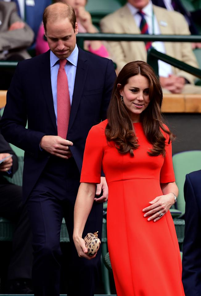 <p>Kate's Wimbledon outfit consisted of a bright red dress by royal favourite, L.K. Bennett, and Diane von Furstenberg's leopard print clutch. </p><p><i>[Photo: PA]</i></p>