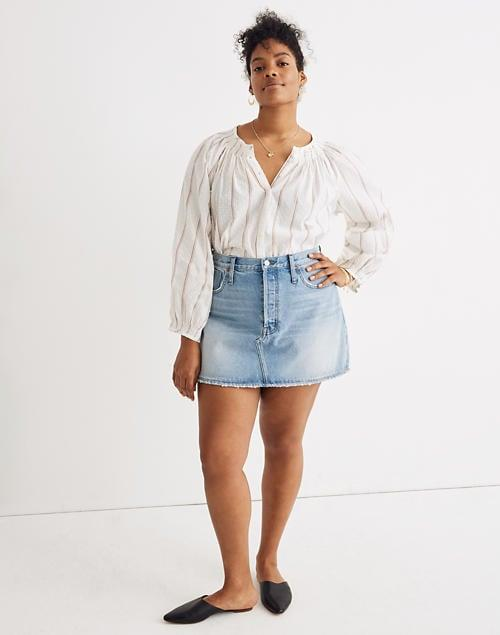 """<p>You'll always want to wear this <a href=""""https://www.popsugar.com/buy/Madewell-Rigid-Denim-Relaxed-Mini-Skirt-582008?p_name=Madewell%20Rigid%20Denim%20Relaxed%20Mini%20Skirt&retailer=madewell.com&pid=582008&price=65&evar1=fab%3Aus&evar9=35329485&evar98=https%3A%2F%2Fwww.popsugar.com%2Ffashion%2Fphoto-gallery%2F35329485%2Fimage%2F47550214%2FMadewell-Rigid-Denim-Relaxed-Mini-Skirt&list1=shopping%2Cdenim%2Csummer%20fashion%2Cfashion%20shopping&prop13=mobile&pdata=1"""" rel=""""nofollow"""" data-shoppable-link=""""1"""" target=""""_blank"""" class=""""ga-track"""" data-ga-category=""""Related"""" data-ga-label=""""https://www.madewell.com/rigid-denim-relaxed-mini-skirt-in-northdale-wash-AO370.html?color=DM4579"""" data-ga-action=""""In-Line Links"""">Madewell Rigid Denim Relaxed Mini Skirt</a> ($65, originally $75).</p>"""