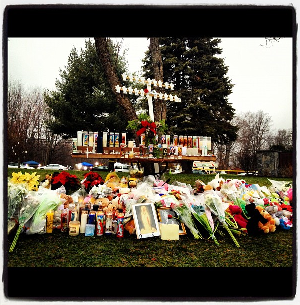 Memorial for Sandy Hook victims outside Saint Rose church. @ St. Rose of Lima. (Dylan Stableford/Yahoo! News)