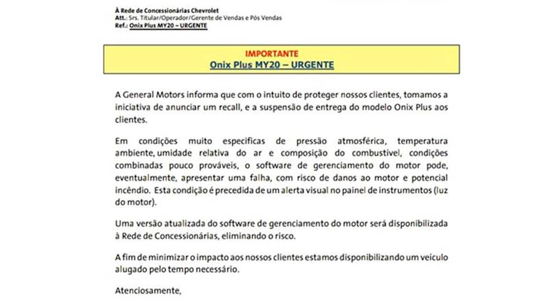 Comunicado Chevrolet Onix Plus