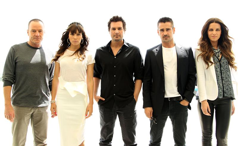 """From left, actor Bryan Cranston, actress Jessica Biel, director Len Wiseman, actor Colin Farrell, and actress Kate Beckinsale, from the upcoming film """"Total Recall"""", pose for a portrait during Comic-Con, Friday, July 13, 2012, in San Diego. (Photo by Matt Sayles/Invision/AP)"""