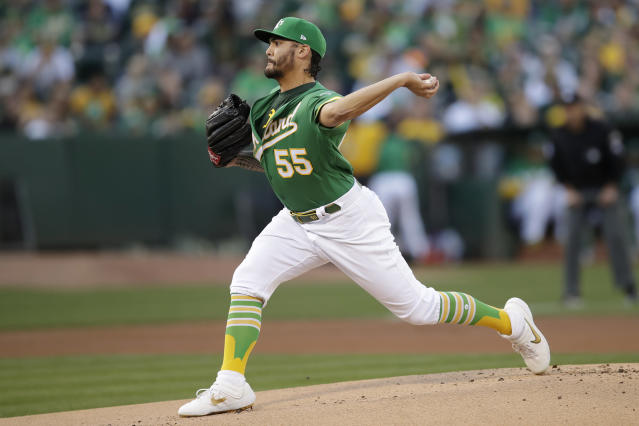 Oakland Athletics pitcher Sean Manaea (55) throws to a Tampa Bay Rays batter during the first inning of an American League wild-card baseball game in Oakland, Calif., Wednesday, Oct. 2, 2019. (AP Photo/Ben Margot)