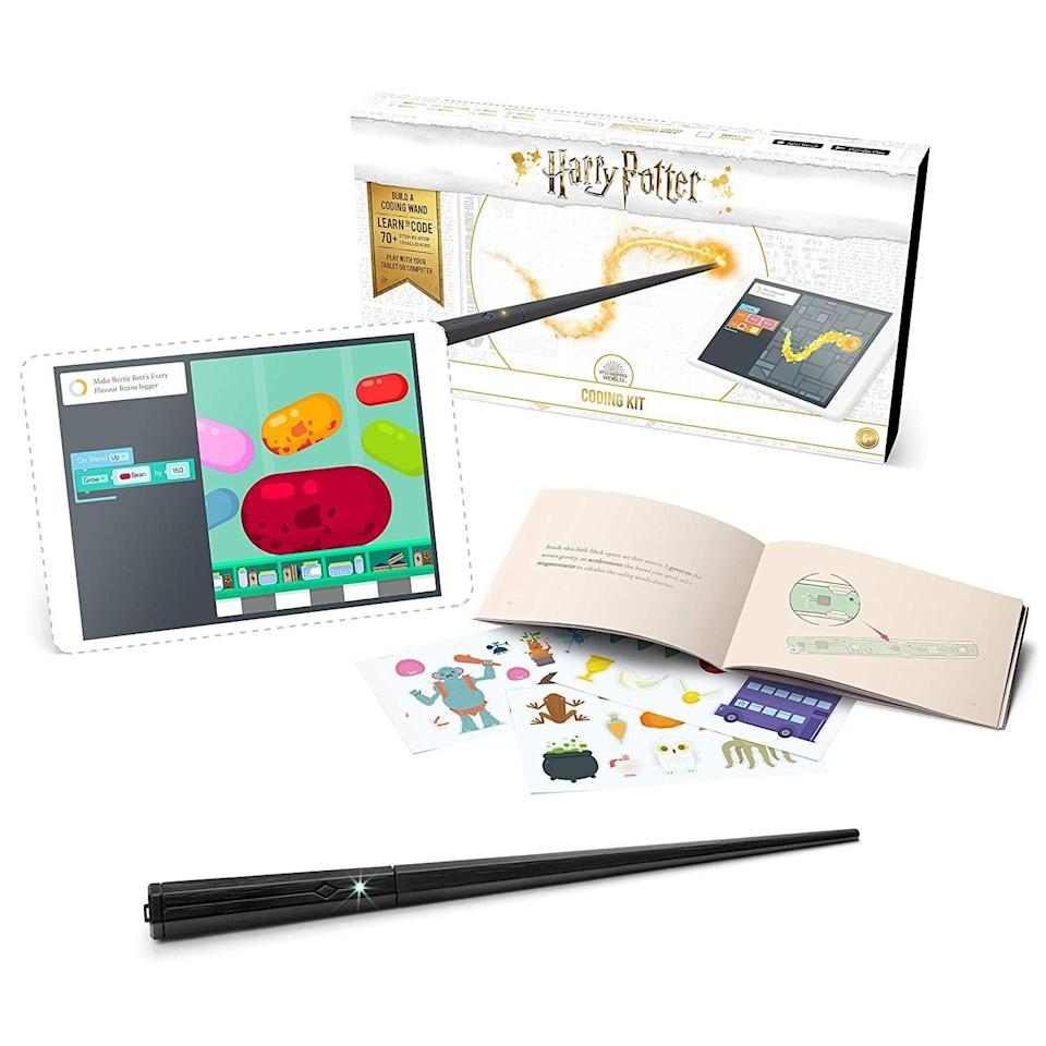 "<p>Your kid can learn to code the magical way with this <a rel=""nofollow noopener"" href=""https://www.popsugar.com/buy/Kano%20Harry%20Potter%20Coding%20Kit-369406?p_name=Kano%20Harry%20Potter%20Coding%20Kit&retailer=amazon.com&price=77&evar1=moms%3Aus&evar9=46068210&evar98=https%3A%2F%2Fwww.popsugar.com%2Ffamily%2Fphoto-gallery%2F46068210%2Fimage%2F46068988%2FKano-Harry-Potter-Coding-Kit&list1=holiday%2Cgift%20guide%2Charry%20potter%2Cparenting%20gift%20guide%2Cgifts%20for%20kids%2Ckid%20shopping%2Cgifts%20for%20toddlers&prop13=api&pdata=1"" target=""_blank"" data-ylk=""slk:Kano Harry Potter Coding Kit"" class=""link rapid-noclick-resp"">Kano Harry Potter Coding Kit</a> ($77, originally $100).</p>"