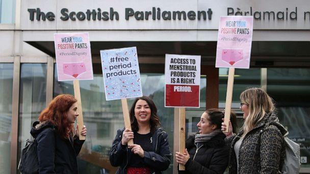 PHOTO: Monica Lennon MSP (second left) joins supporters of the Period Products bill at a rally outside Parliament in Edinburgh, Scotland, Feb. 25, 2020. (Andrew Milligan/PA via Zuma Press)