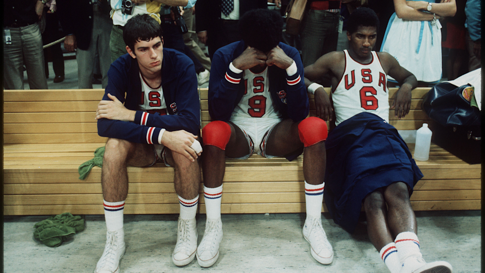 The United States basketball team shows their frustration to the decision of the officials giving the gold medal to the Soviet Union at the 1972 Olympic games in Munich, West Germany.  (Rich Clarkson / Rich Clarkson & Assoc.)