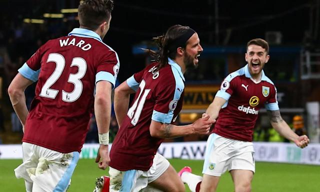 """<span class=""""element-image__caption"""">George Boyd celebrates after scoring in Burnley's 1-0 Premier League win against Stoke City at Turf Moor.</span> <span class=""""element-image__credit"""">Photograph: Robbie Jay Barratt - AMA/Getty Images</span>"""