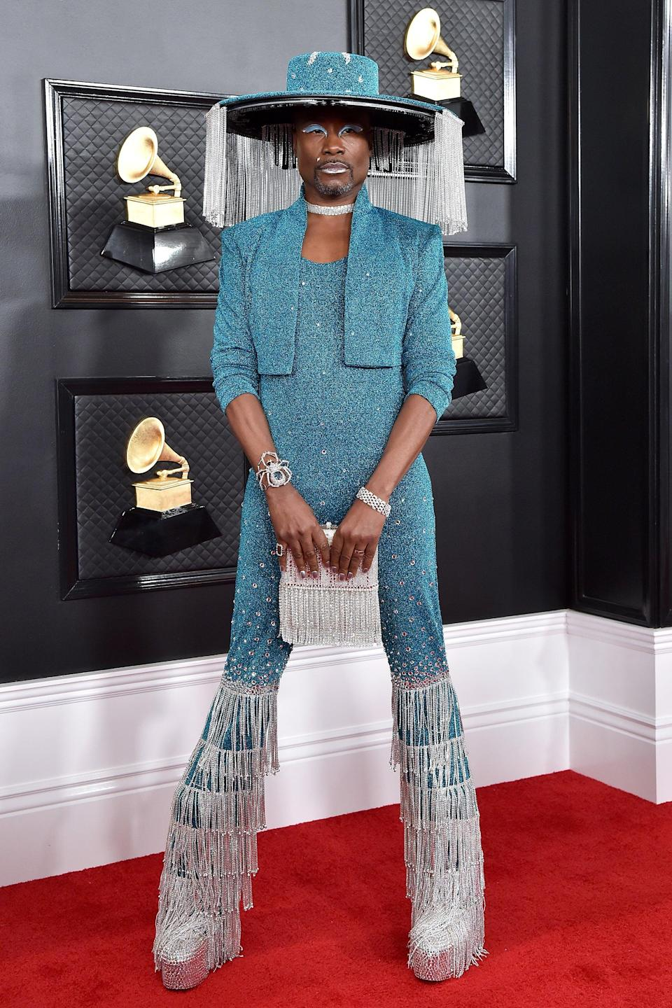 """<h2>Billy Porter, 2020</h2><br>Billy Porter's remote-controlled, rhinestone hat was enough to get him on this list. The rest of his teal-and-silver Baja East look was just icing on the cake. <span class=""""copyright"""">Photo: Axelle/Bauer-Griffin/FilmMagic.</span>"""