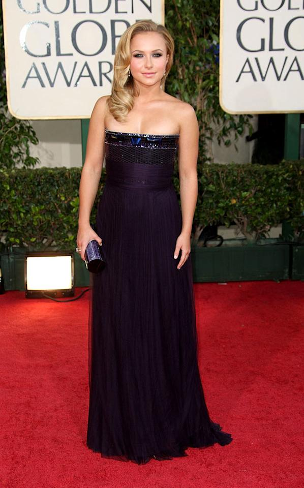 "Hayden Panettiere's purple cleavage-crushing frock was pretty painful to look at. Frazer Harrison/<a href=""http://www.gettyimages.com/"" target=""new"">GettyImages.com</a> - January 11, 2009"