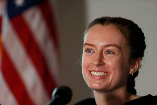 PHOTO: Maggie Taraska, 17, talks to reporters at a press conference in Beverly, Mass. on Sep. 10, 2018 about her emergency landing the previous day at Beverly Regional Airport. (Boston Globe via Getty Images)