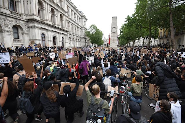 Protesters fill Whitehall in central London for the Black Lives Matter protest. (Kate Green/Anadolu Agency via Getty Images)