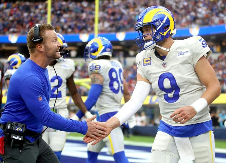 Los Angeles Rams head coach Sean McVay congratulates quarterback Matthew Stafford during the team's victory over Tampa Bay on Sunday (AFP/Katelyn Mulcahy)