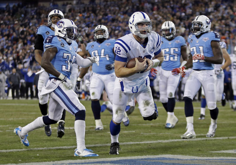 Indianapolis Colts quarterback Andrew Luck (12) scores a touchdown on an 11-yard run against the Tennessee Titans in the third quarter of an NFL football game Thursday, Nov. 14, 2013, in Nashville, Tenn. (AP Photo/Wade Payne)