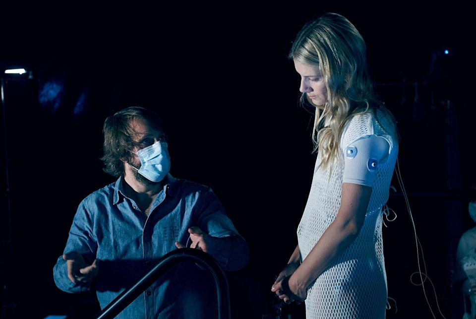 Alexandre Aja with Mélanie Laurent on the sets of <i>Oxygen.</i>