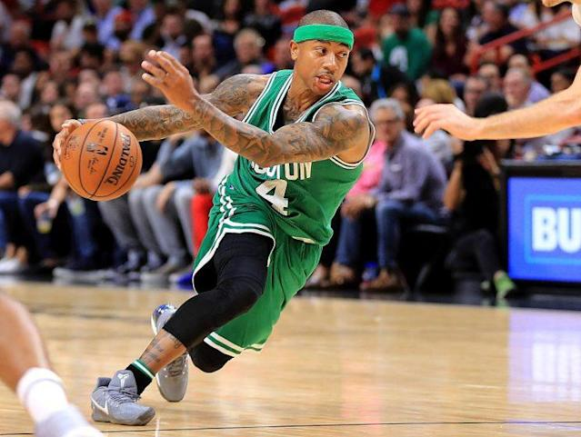 "<a class=""link rapid-noclick-resp"" href=""/nba/players/4942/"" data-ylk=""slk:Isaiah Thomas"">Isaiah Thomas</a> highlights this week's look at recent risers and fallers in fantasy hoops (Getty Images)"