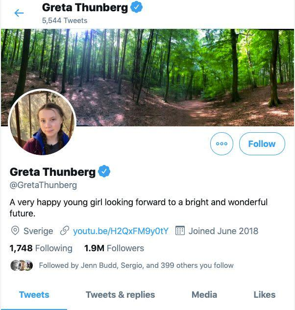 Greta Thunberg's Twitter page. (Photo: Twitter screenshot)