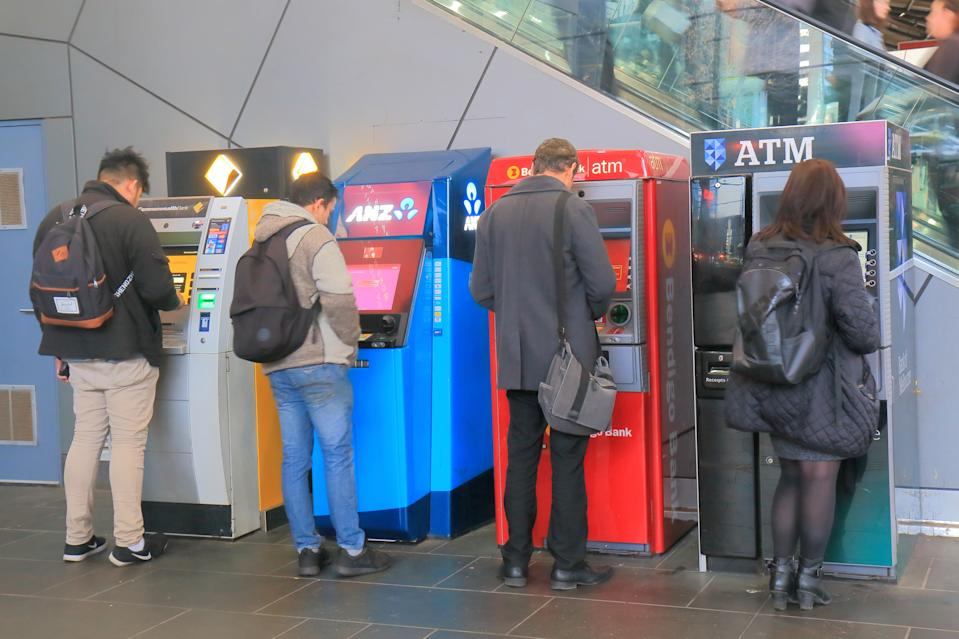 Melbourne Australia - July 2, 2017: People use ATM at Southern Cross railway station Melbourne.