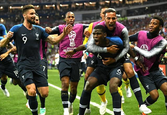 France's Paul Pogba celebrates his goal in the 2018 World Cup final against Croatia. (Getty)