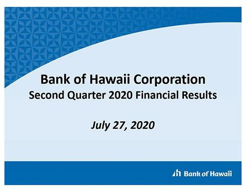 Bank of Hawaii Corporation Second Quarter 2020 Financial Results