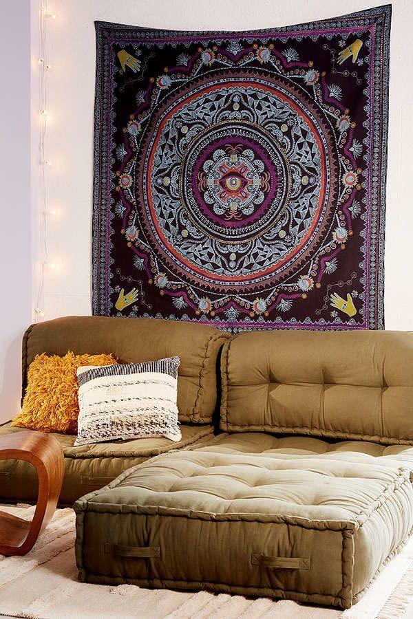 """""""Tapestries are huge for dorm rooms and my friends and I love all the ones from Urban!"""" - Paula Hong, Georgetown University. <a href=""""https://www.urbanoutfitters.com/shop/tapestry-nerita-medallion?category=tapestries&amp;color=001"""" rel=""""nofollow noopener"""" target=""""_blank"""" data-ylk=""""slk:Shop it here."""" class=""""link rapid-noclick-resp"""">Shop it here.</a>"""