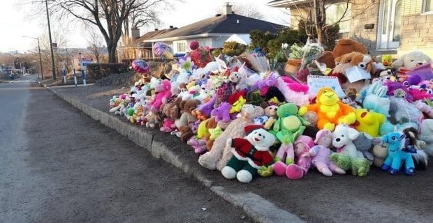 Dozens of stuffed animals were left in front of the home where Rosalie Gagnon's body was found on April 18, 2018.