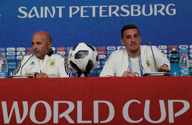 Soccer Football - World Cup - Argentina News Conference - Saint Petersburg Stadium, St. Petersburg, Russia - June 25, 2018. Argentina's coach Jorge Sampaoli and goalkeeper Franco Armani during news conference. REUTERS/Henry Romero