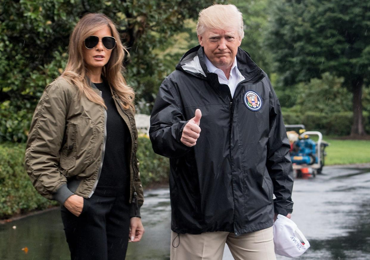 President Donald Trump and First Lady Melania Trump depart the White House in Washington, DC, on August 29, 2017 for Texas to view the damage caused by Hurricane Harvey.