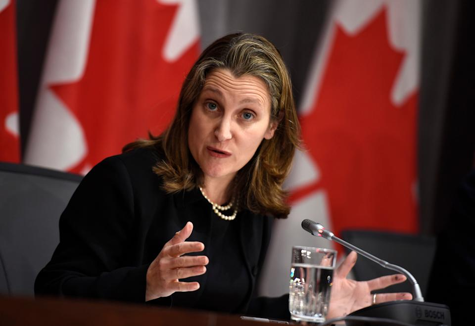 Deputy Prime Minister Chrystia Freeland speaks during a press conference on COVID-19 in West Block on Parliament Hill in Ottawa on March 19, 2020. (Photo: Justin Tang/CP)