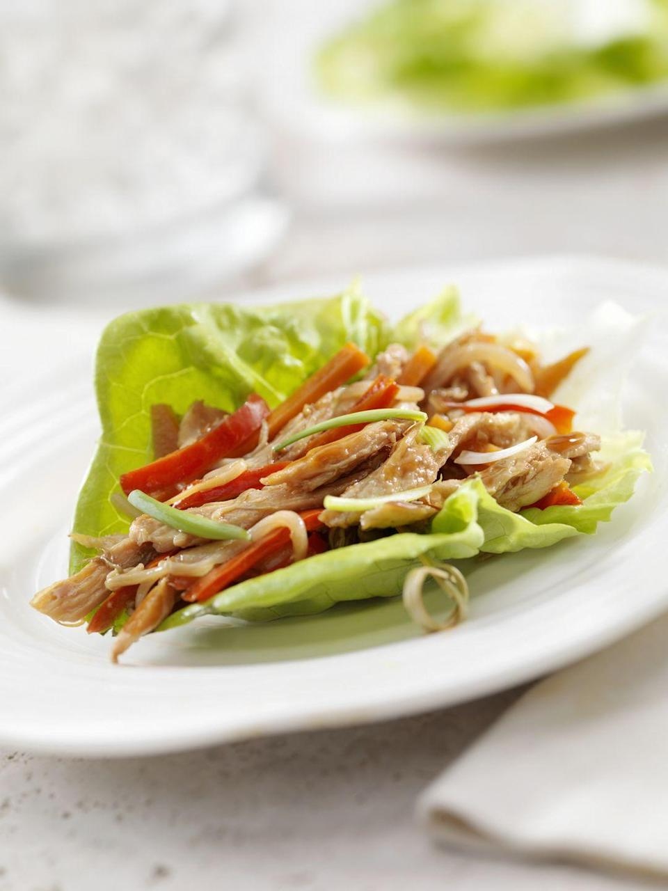 """<p> To make spring rolls Whole 30-compliant, skip the usual wrappers, says Kelsey Rosenbaum, RD at Sodexo. """"Lettuce wraps are a great Whole30 compliant alternative to rice paper wrappers. I like to prep 4-5 different vegetables, a protein, and a Whole30 compliant dipping sauce ahead of time,"""" says Rosenbaum. They're also family-friendly and quick and easy to assemble.</p>"""
