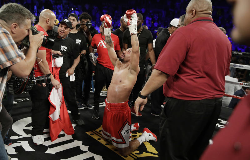 FILE - In this June 17, 2017, file photo, Andre Ward celebrates after defeating Sergey Kovalev during a light heavyweight championship boxing match in Las Vegas. Ward is retiring from boxing with an undefeated record because he no longer has the desire to fight, according to a statement on his website Thursday, Sept. 21, 2017. (AP Photo/John Locher, File)