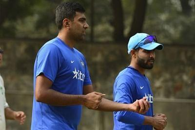 Indian cricketers Ravichandran Ashwin and Ravindra Jadeja during a practice session.