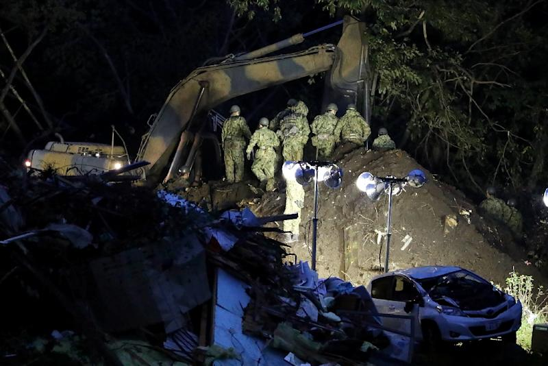 Rescue operations continued throughout the night (AFP Photo/JIJI PRESS)