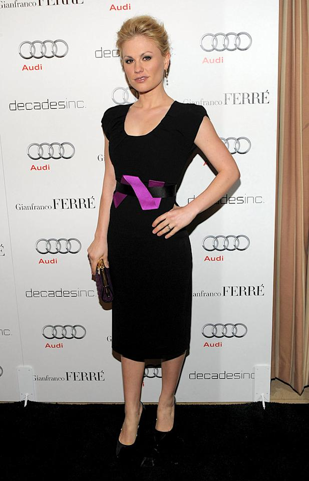"Meanwhile at a Golden Globes soiree at West Hollywood's Sunset Tower, ""True Blood's"" Anna Paquin flaunted her fab figure in a fitted Gianfranco Ferre dress, complete with a lavender sash. Michael Buckner/<a href=""http://www.gettyimages.com/"" target=""new"">GettyImages.com</a> - January 10, 2010"