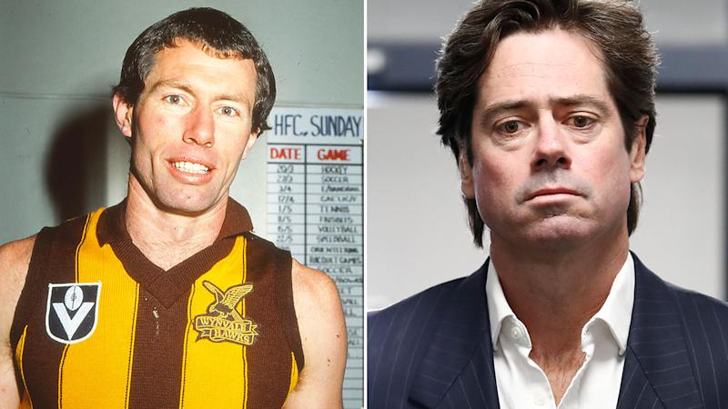 Seen here, Hawthorn great Don Scott and AFL CEO Gillon McLachlan.