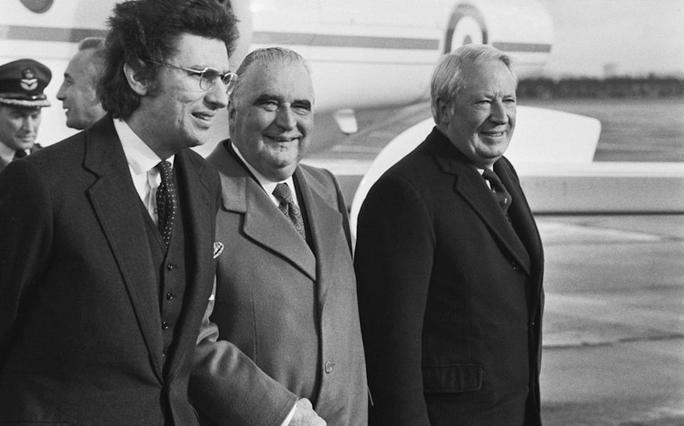 Lord Gowrie, then a Government whip, with the Prime Minister Edward Heath and Georges Pompidou, following the the French president's arrival at RAF Northolt to sign the agreement to build the Channel Tunnel - Evening Standard/Hulton Archive/Getty Images