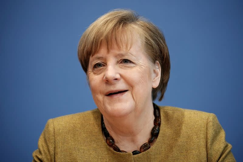 FILE PHOTO: German Chancellor Angela Merkel holds a news conference in Berlin