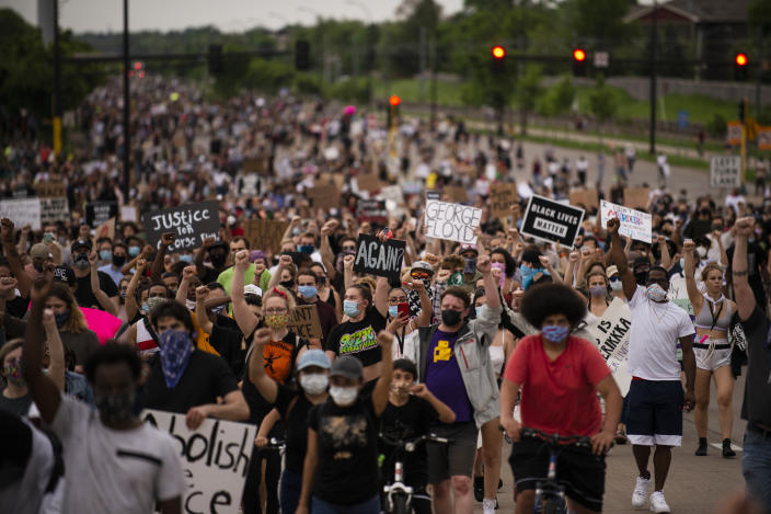 Marchers protest the killing of George Floyd on May 26 in Minneapolis. (Stephen Maturen/Getty Images)